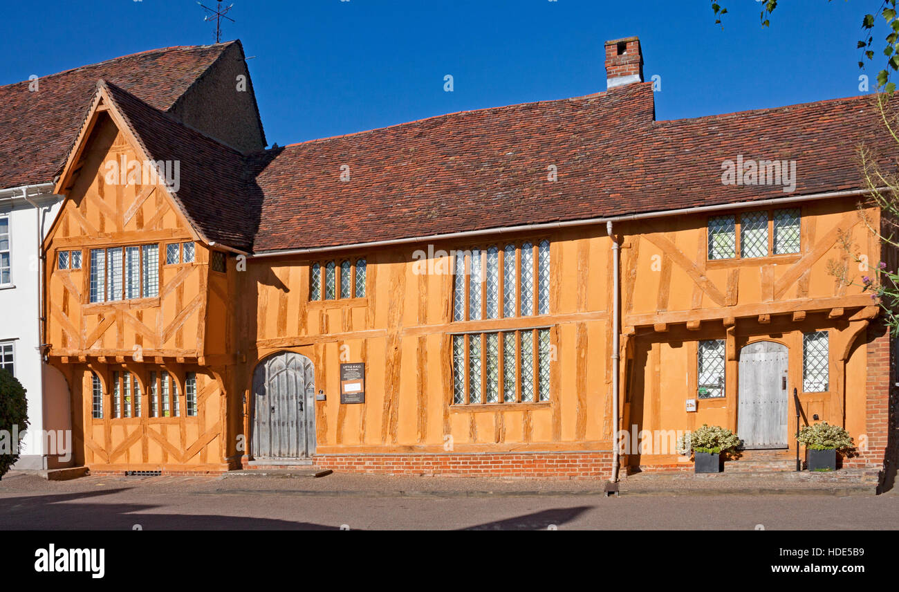 Little Hall, a former wool merchant's house in Lavenham, Suffolk. A picturesque historic village. - Stock Image