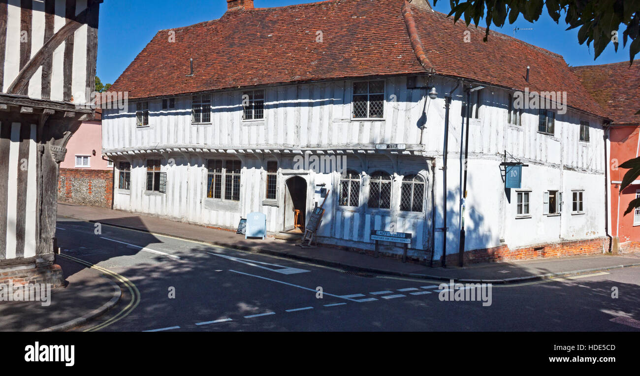 The medieval timber framed building at 10 Lady Street, Lavenham,Suffolk. Now a restaurant known as Number Ten. - Stock Image