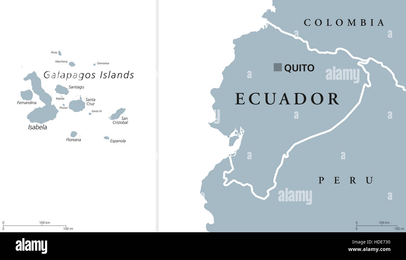 South America Map Galapagos Islands.Ecuador Political Map With Capital Quito And The Galapagos Islands