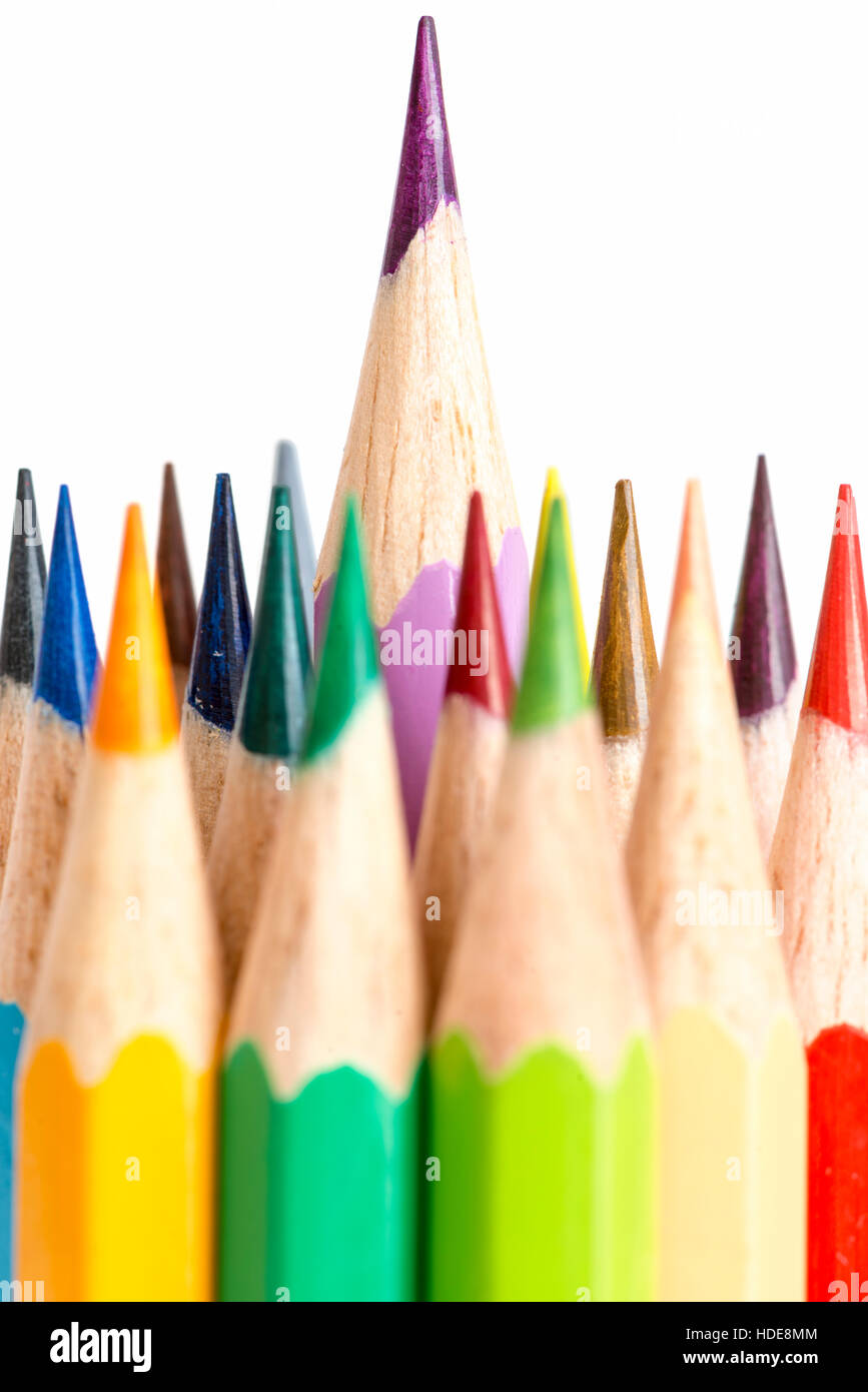 Number of color pencils isolated on white background - Stock Image