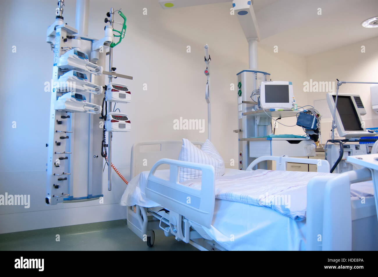 Intensive care unit and trauma care unit of a hospital's emergency department. - Stock Image