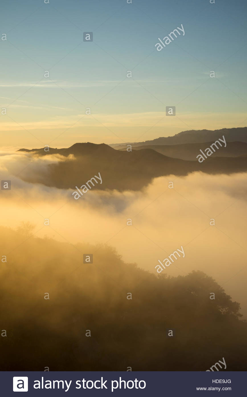 Low Fog Sunset at Golden Gate National Recreation Area, Marin Headlands, California - Stock Image