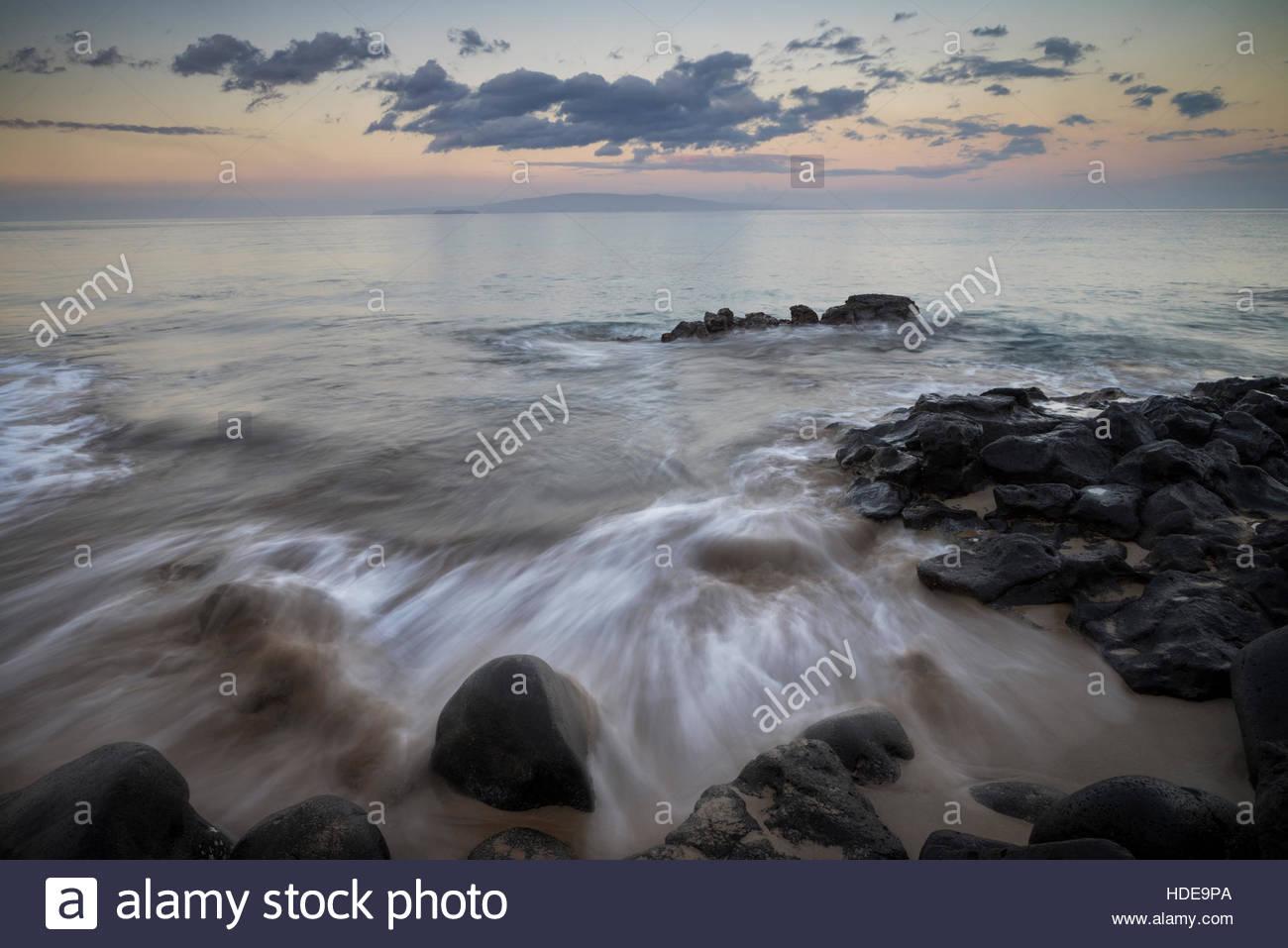 Sunrise at Kamaole Beach Park II, Kihei, Maui, Hawaii Stock Photo