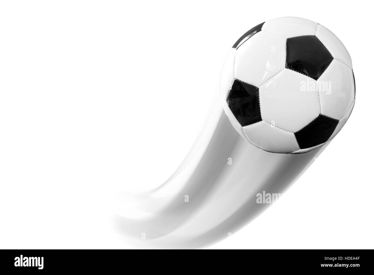 Soccer ball with trace - Stock Image