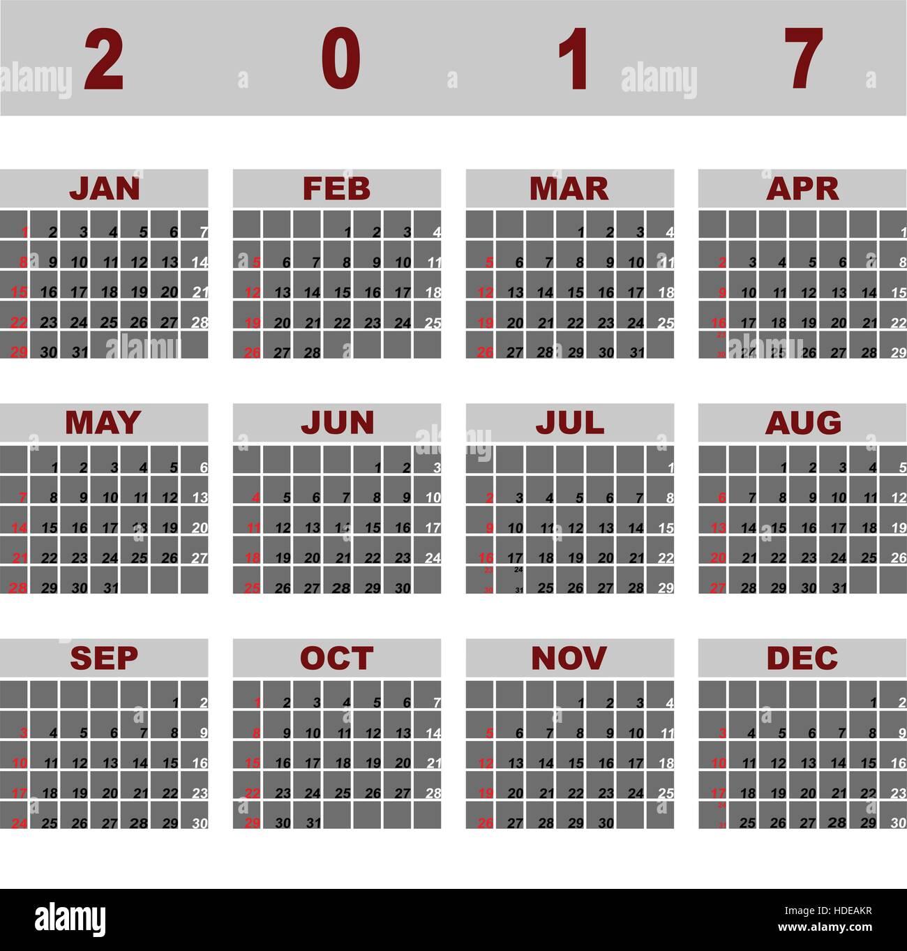 Simple Editable 2017 Vector Calendar Stock Photos & Simple Editable ...