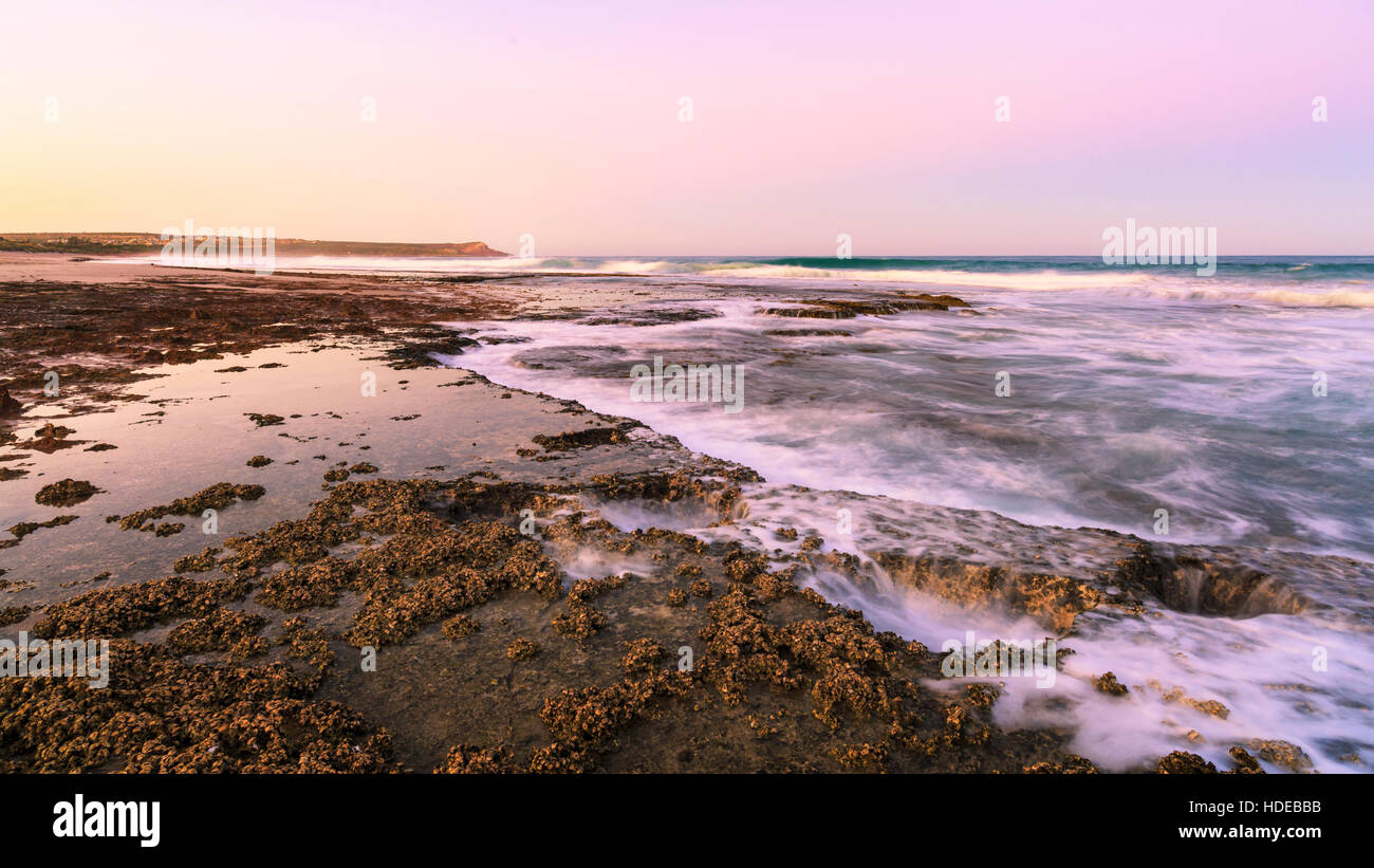 The limestone coast at Blue Holes with Red Bluff in the distance. Kalbarri, Western Australia - Stock Image