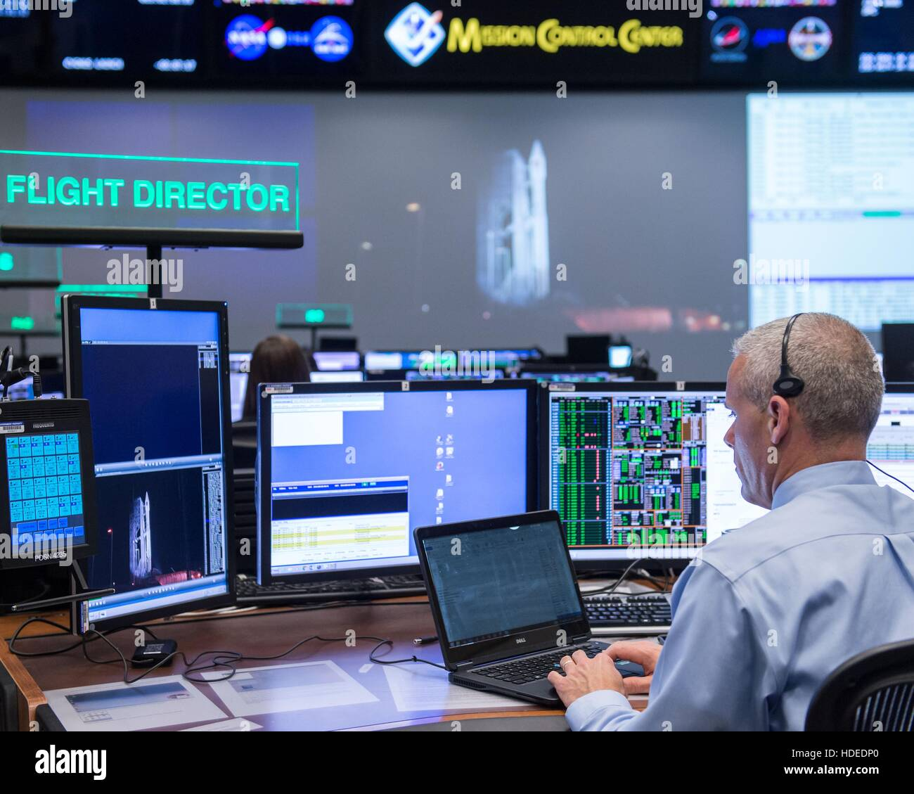 NASA Expedition 47 flight director directs the launch of the Orbital/ATK Cygnus OA-6 on the Atlas V rocket at the - Stock Image