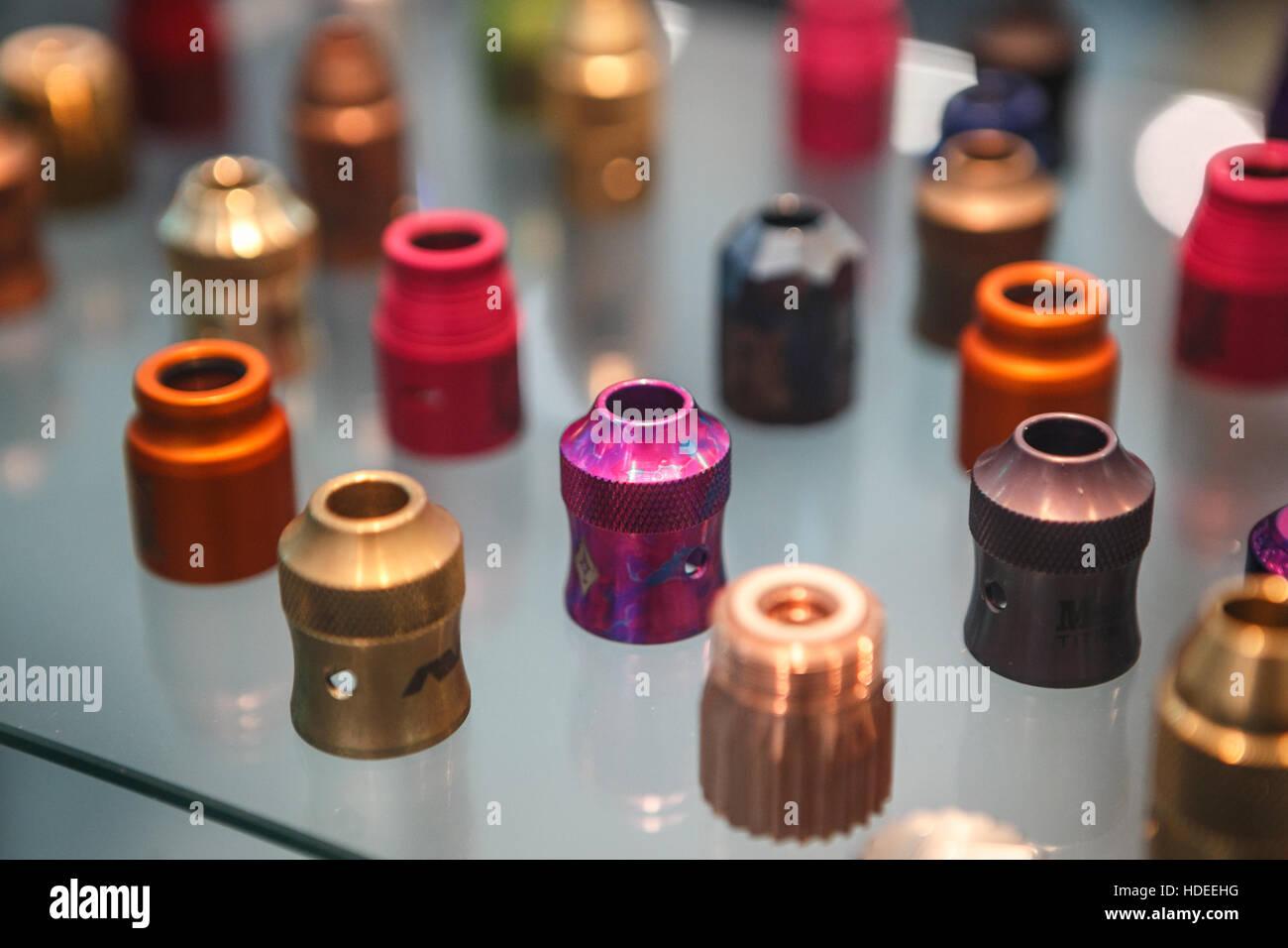 MOSCOW - 9 DECEMBER,2016: International Vape Expo.Popular vaper device mod.Modern vaporizer e-cig device,spare parts.New - Stock Image