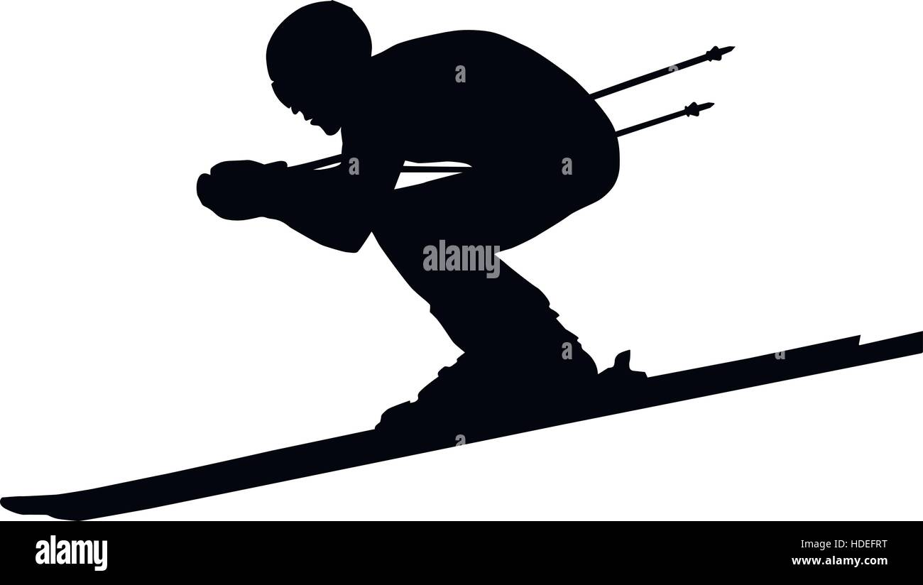 downhill man athlete skiing to competition in alpine skiing. black silhouette vector illustration - Stock Vector