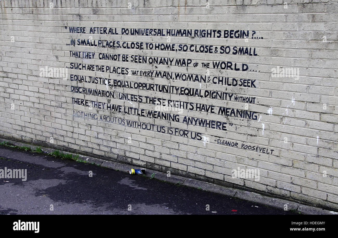 Quote painted on a Shankill housing estate wall in west Belfast - Stock Image