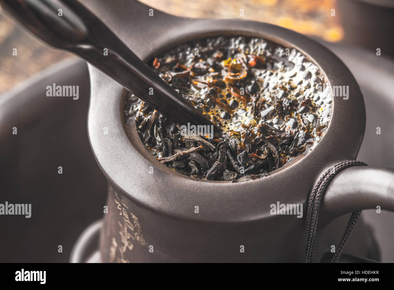 Brewing tea in the Chinese teapot - Stock Image