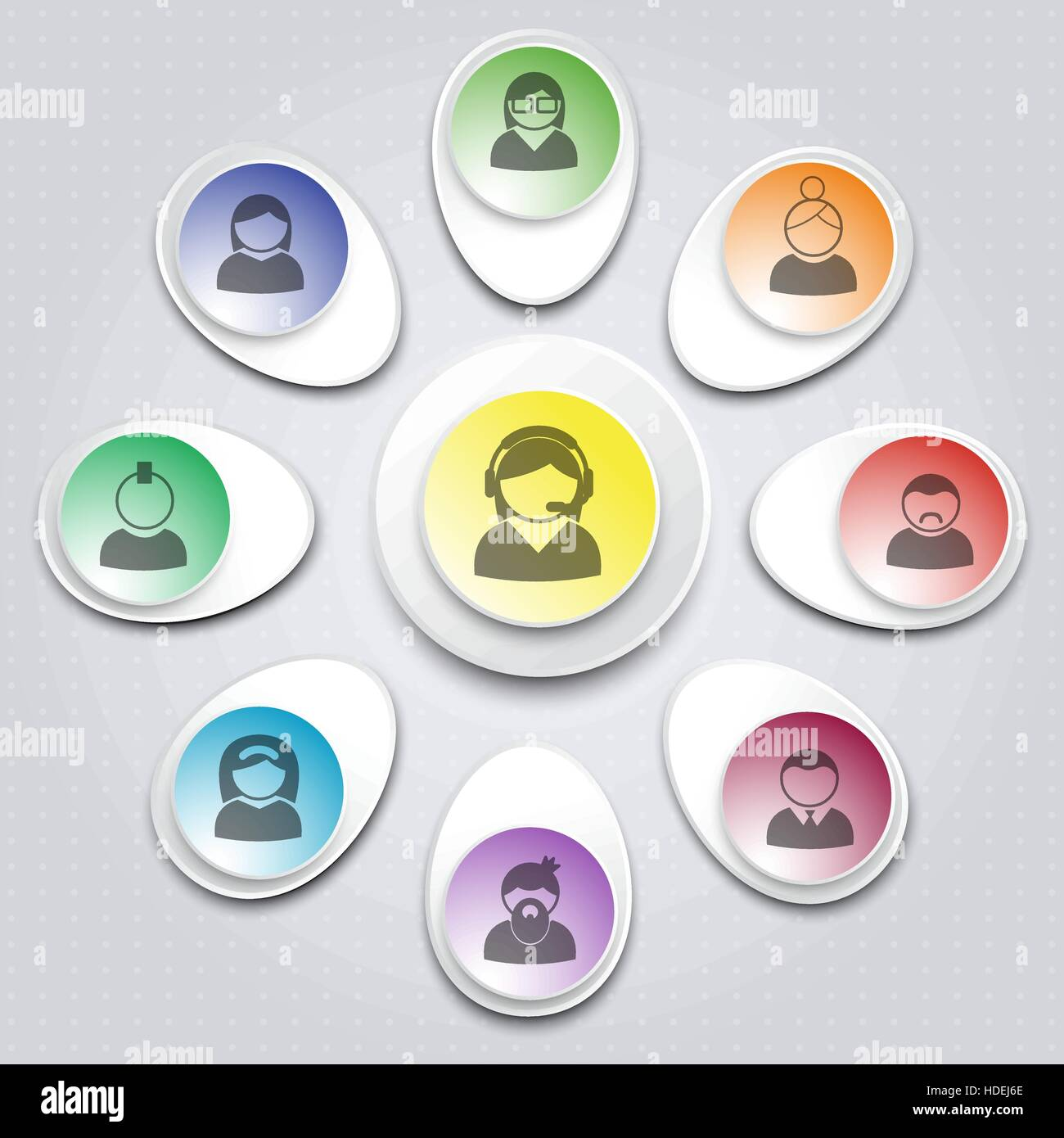 User support  Set of infographic elements with users icons  Design