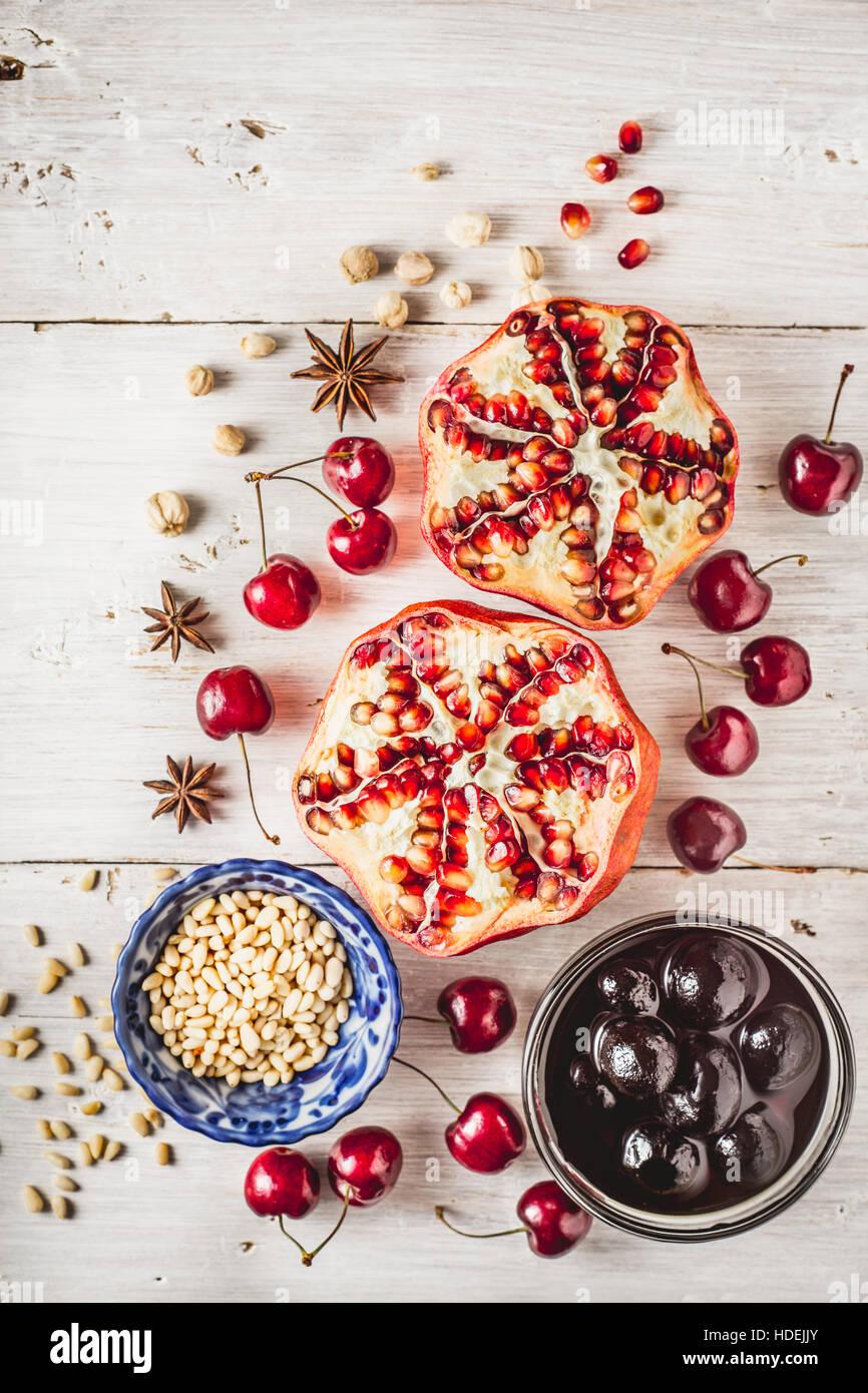 pomegranate cherry walnut jam pine nuts fruit nut - Stock Image