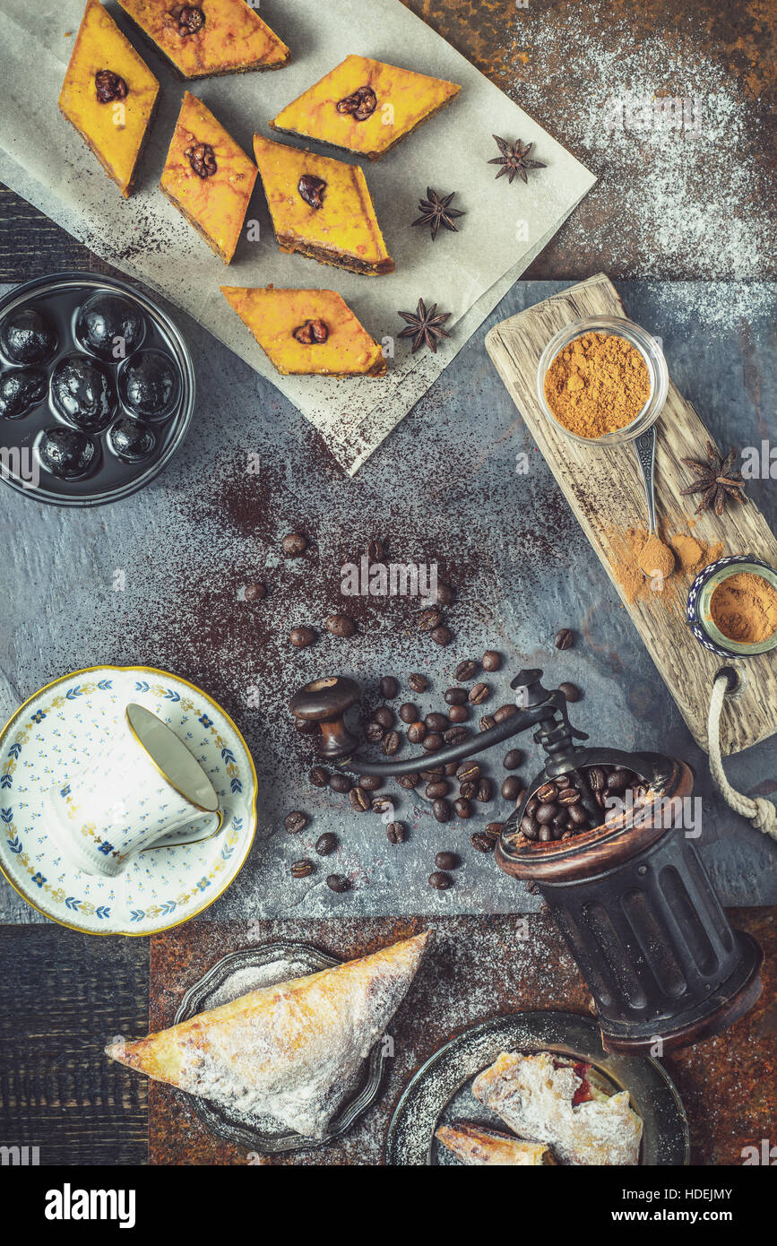 Concept of oriental dessert vertical - Stock Image