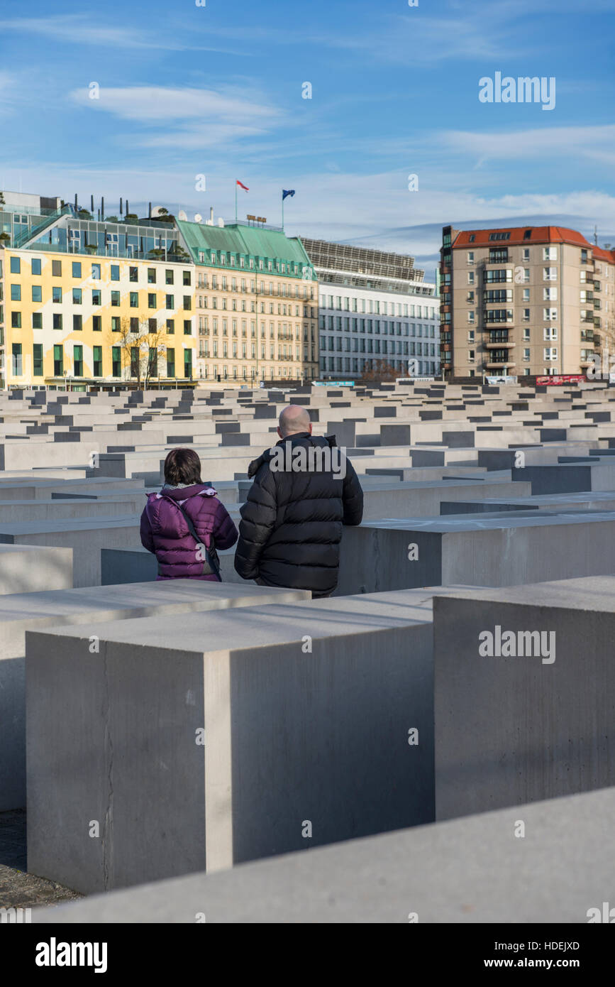 The Memorial to the Murdered Jews of Europe (also know as the Holocaust Memorial) in Berlin, Germany - Stock Image