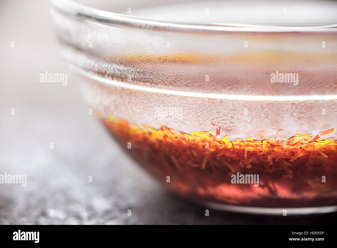 Saffron in the glass bowl horizontal - Stock Image