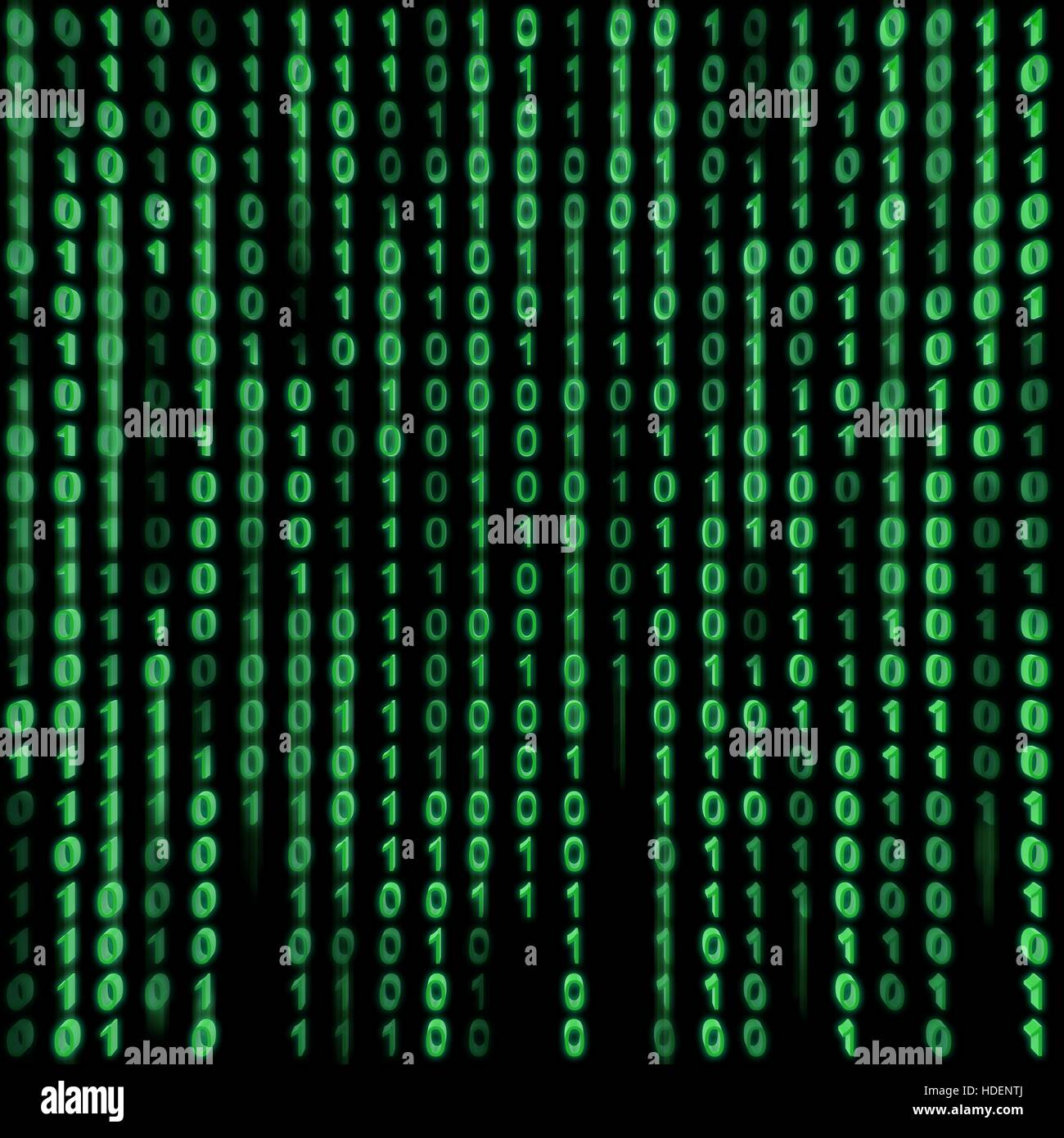 Green binary stream on the screen. - Stock Image
