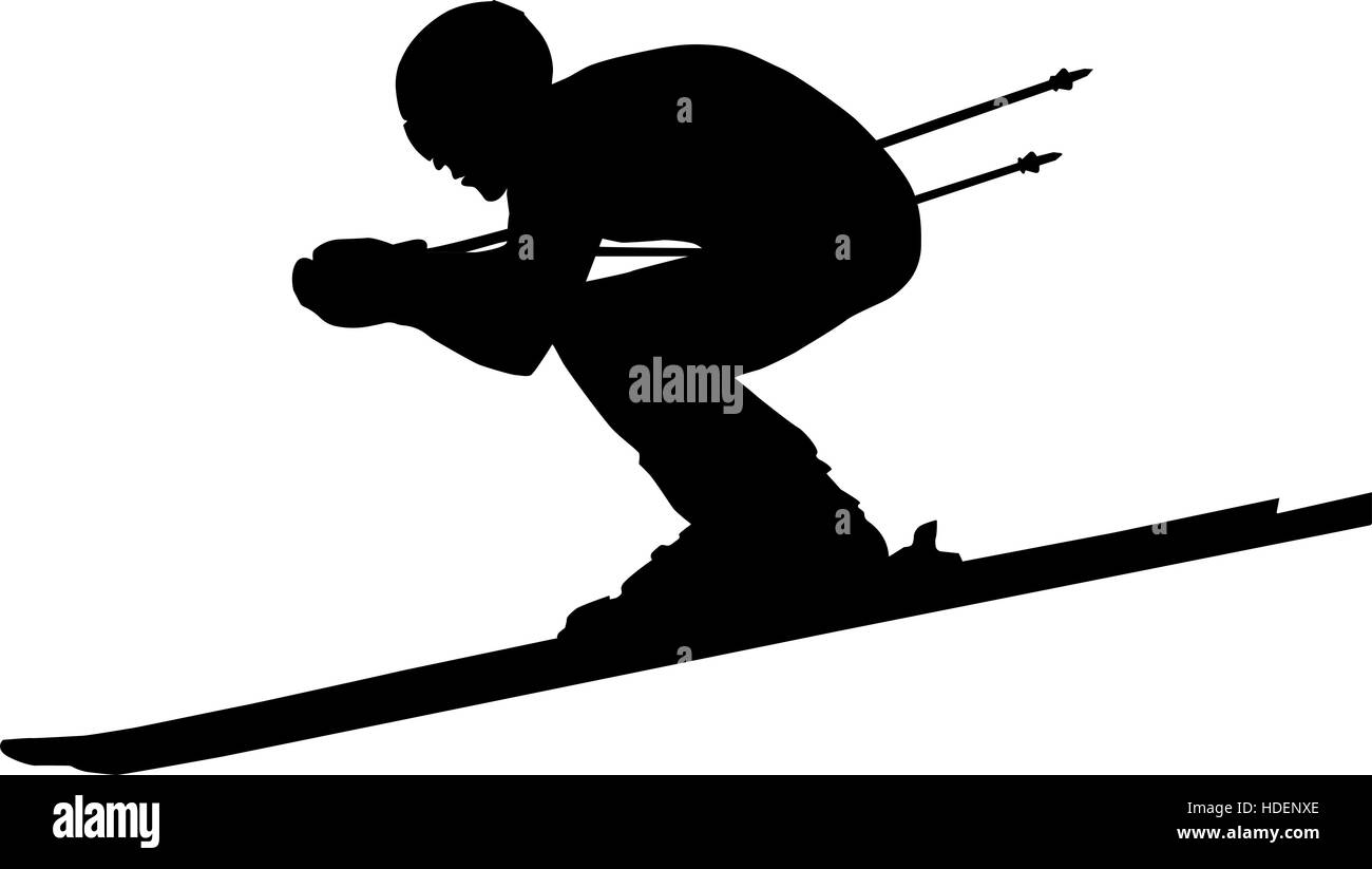 downhill man athlete skiing to competition in alpine skiing. black silhouette vector illustration - Stock Image