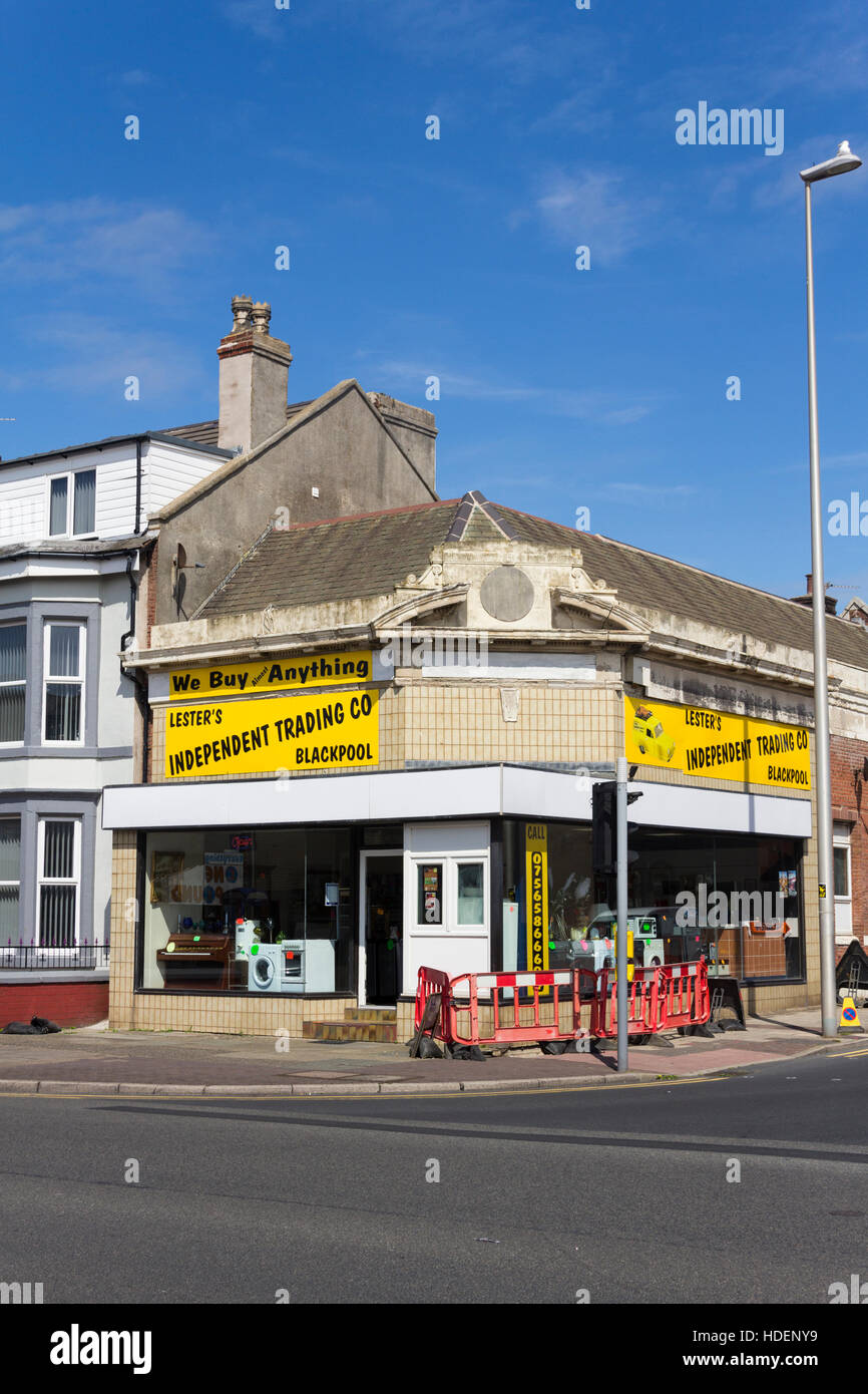 Lesters Independent Trading Co. secondhand trading shop Lytham Road,  Blackpool. Styled like BBC sitcom 'Only - Stock Image