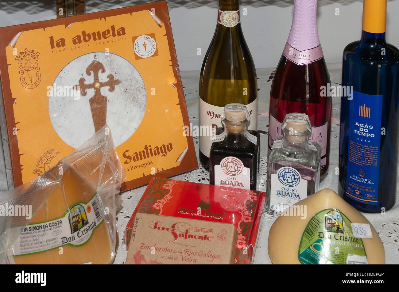 Typical galician products, Santiago de Compostela, La Coruña province, Region of Galicia, Spain, Europe Stock Photo