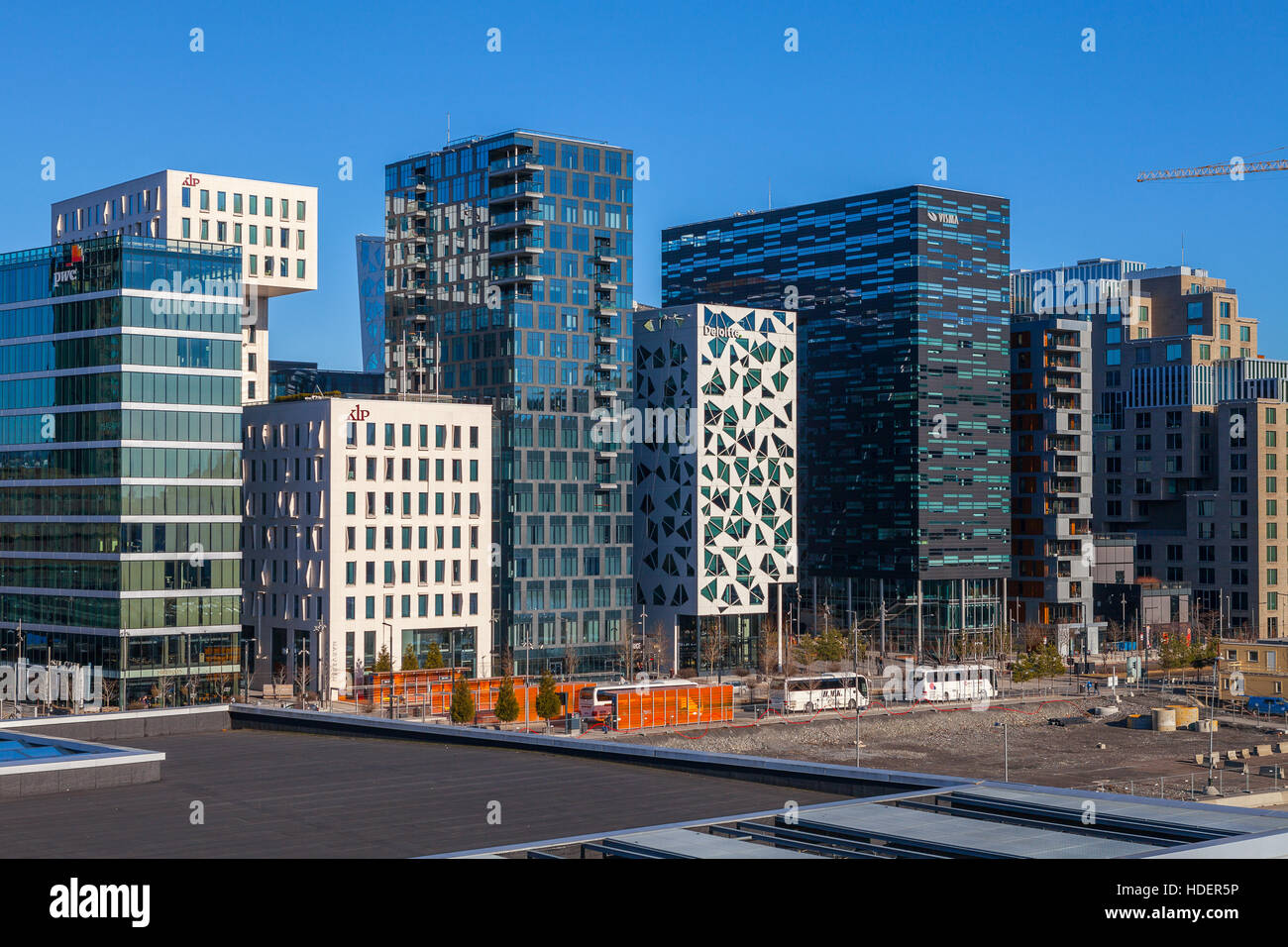 Business buildings known as 'Barcode' in downtown, one of city's symbols. Oslo, Norway - Stock Image