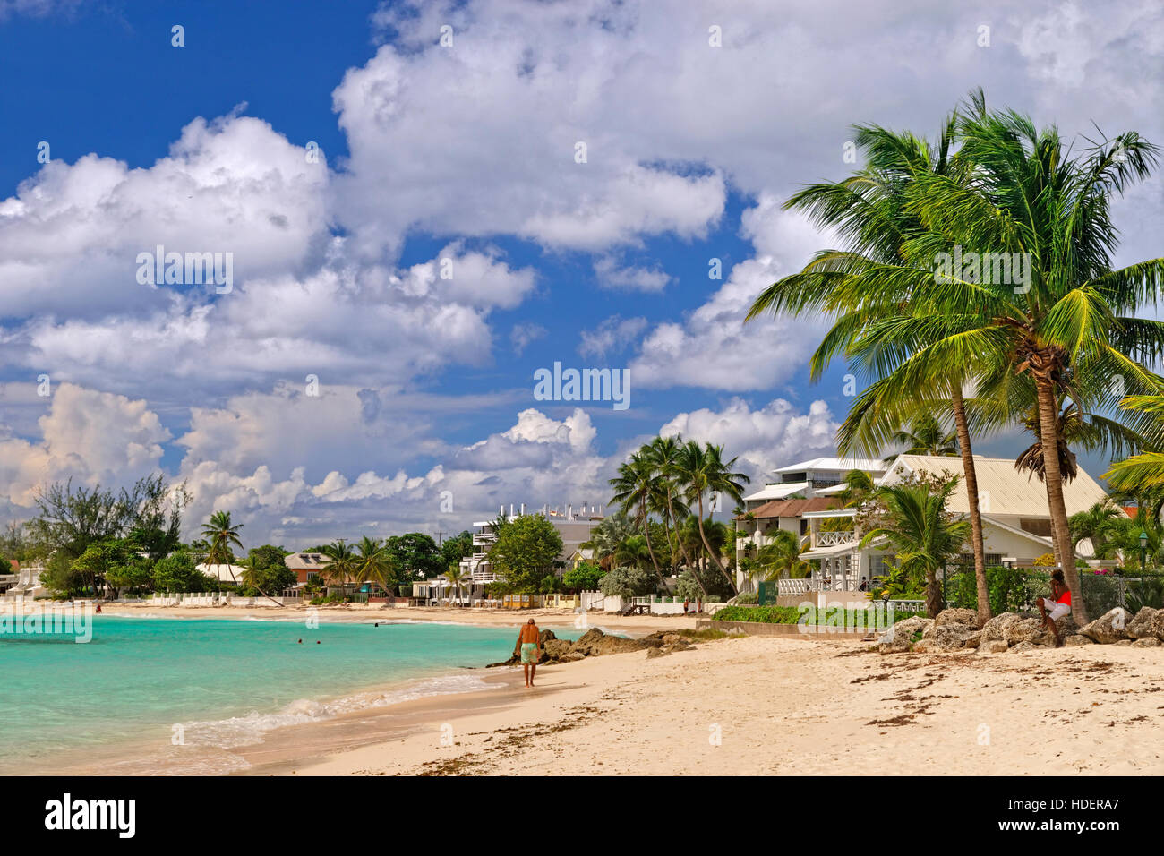 Worthing Beach at Worthing, between St. Lawrence Gap and Bridgetown, South coast, Barbados, Caribbean. - Stock Image