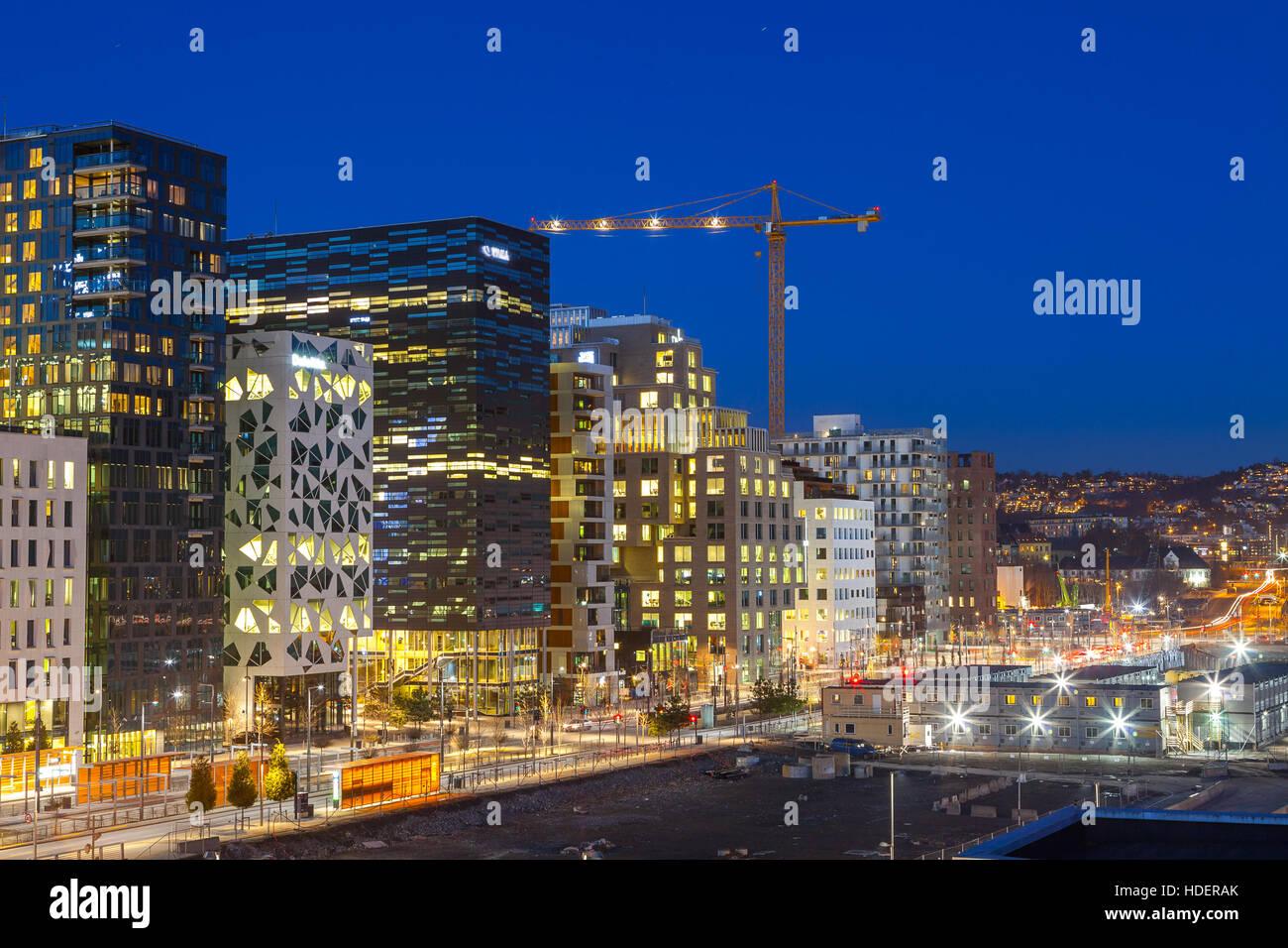 Bjorvika business quarter (Barcose). Night cityscape. - Stock Image