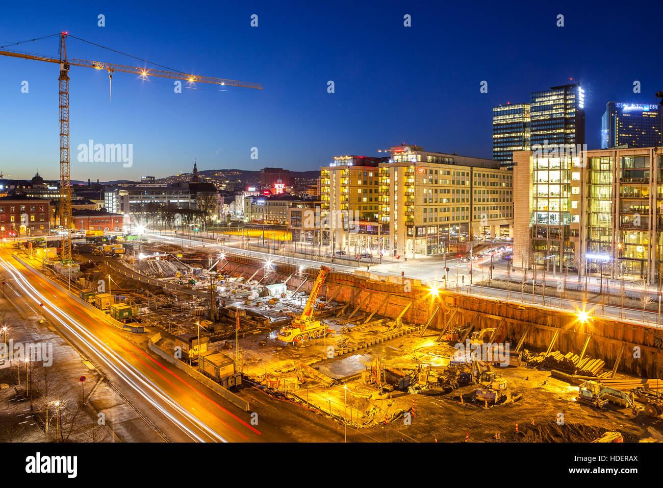 Bjorvika business quarter (Barcose). Construction of new buildings. - Stock Image