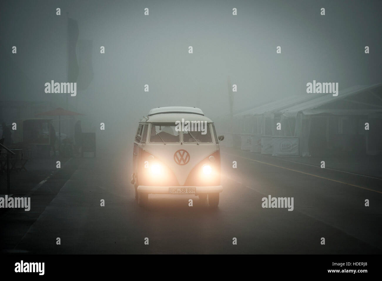 VW Bus - Foggy Weather - Stock Image
