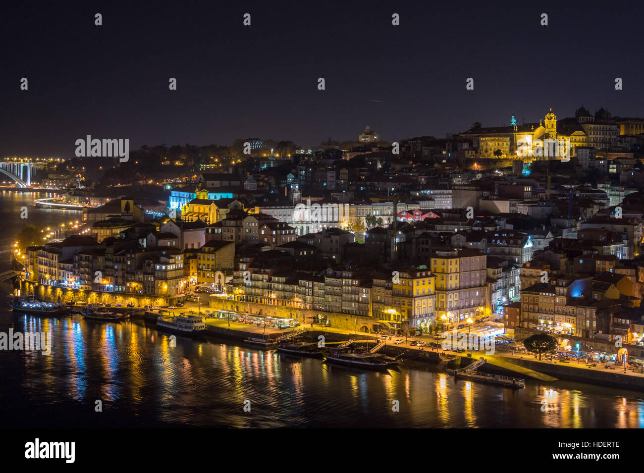 Ribeira, old town, Bishop's palace and Sé cathedral seen from  Vila Nova de Gaia, River Douro, Porto, Portugal, - Stock Image