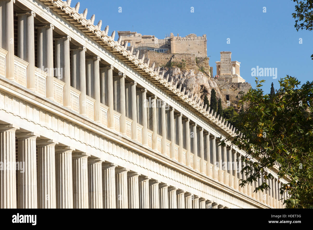 Partial view of the Stoa of Attalos, in the Agora of Athens. It was originally built by King Attalos, in 2nd c. - Stock Image