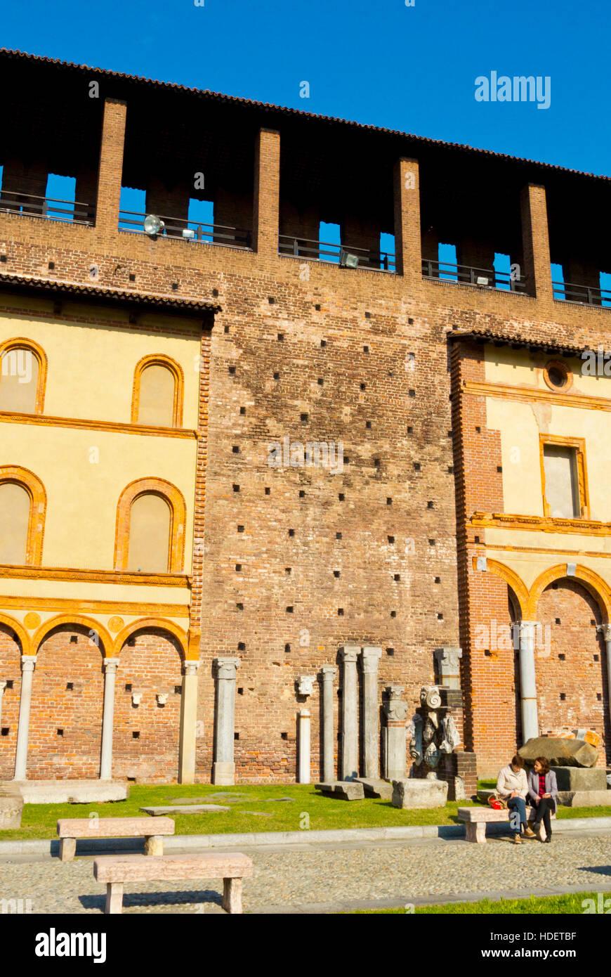 Cortillo delle Armi, Castello Sforzesco, Parco Sempione, Milan, Lombardy, Italy - Stock Image