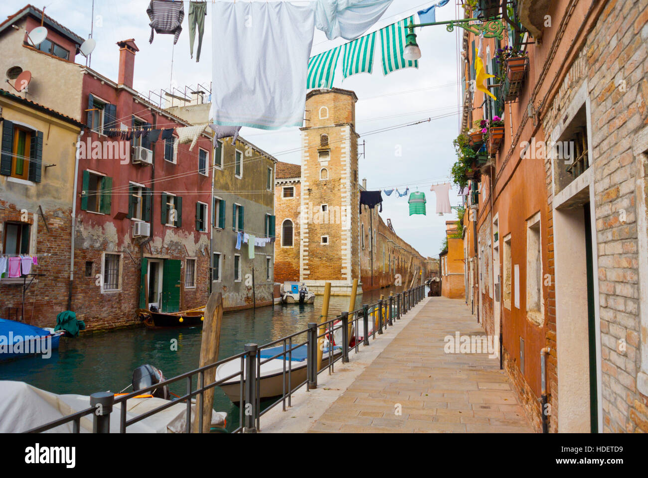 Rio della Tana, with Arsenale di Venezia, Castello, Venice, Veneto, Italy - Stock Image