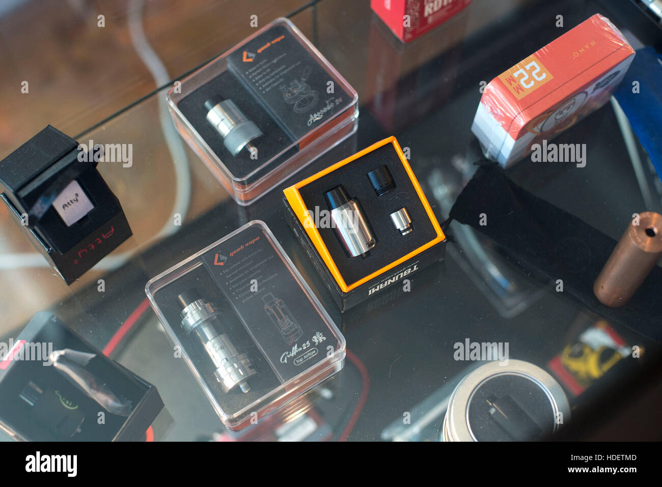 Caerphilly, Wales. November 26th 2016. The Vape House. Detail shot of products displayed in a glass counter at The - Stock Image