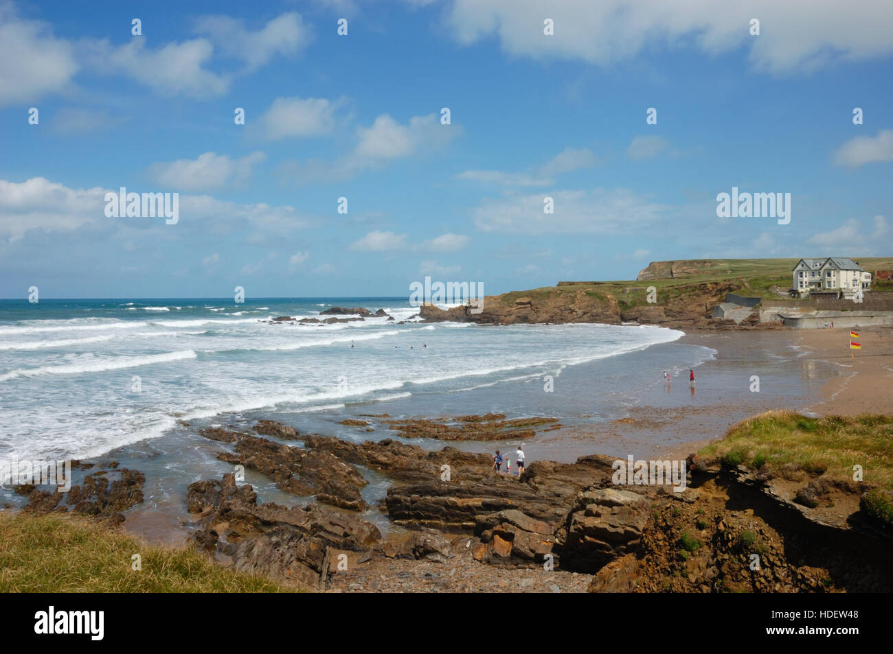 Crooklets Beach and Wrangle Point at Bude in Cornwall Stock Photo