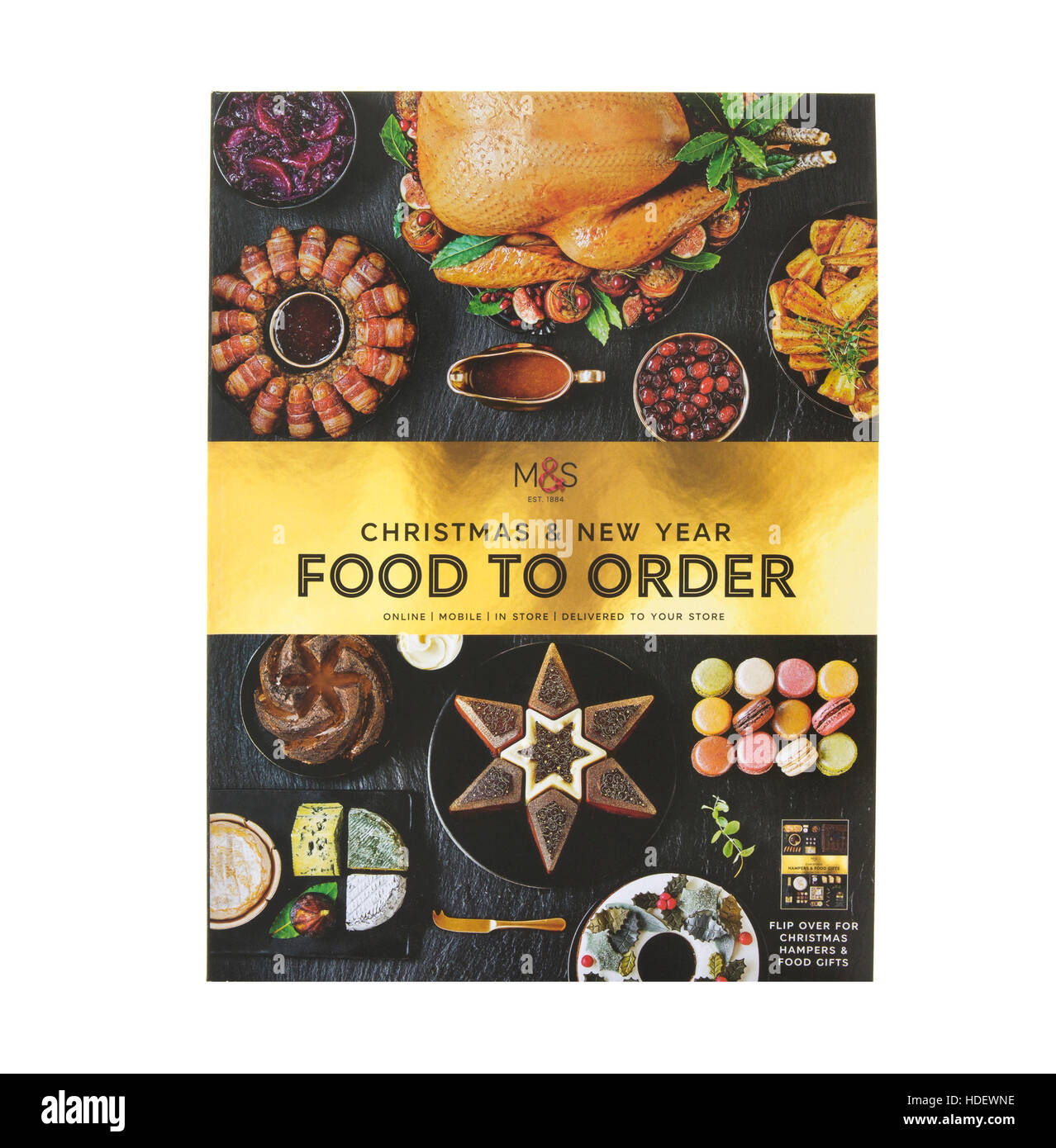 Marks And Spencer Christmas Food To Go Gifts on a white background - Stock Image