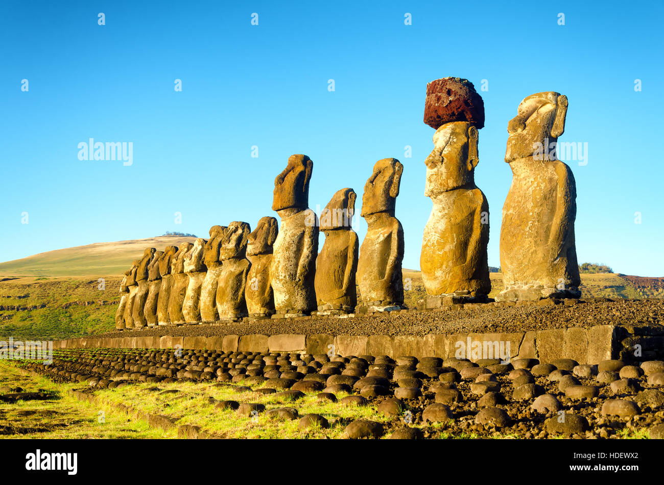 View of Moai with a beautiful blue sky on Easter Island in Chile - Stock Image