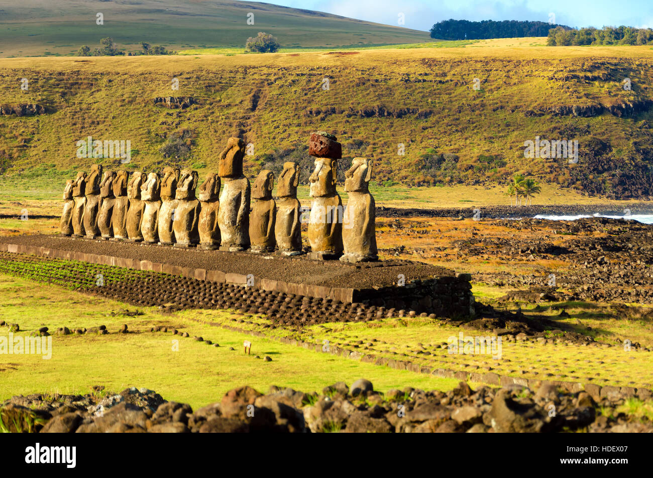 Row of Moai statues at Ahu Tongariki on Easter Island in Chile - Stock Image