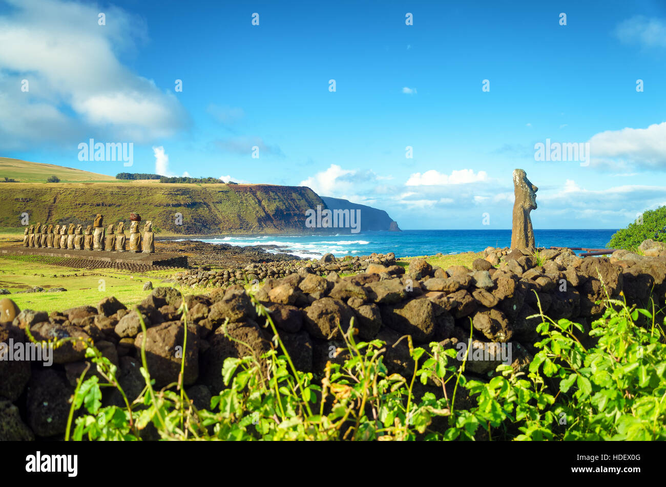Stunning view of Moai and Pacific Ocean on Easter Island in Chile - Stock Image