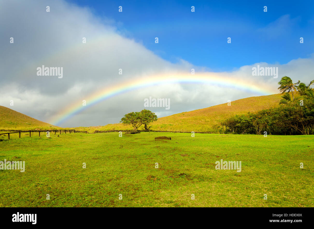 Beautiful rainbow landscape on Easter Island in Chile - Stock Image