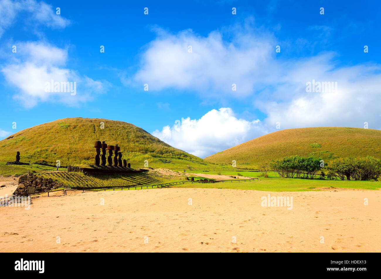 Ahu Nau Nau Moai at Anakena Beach on Easter Island in Chile - Stock Image