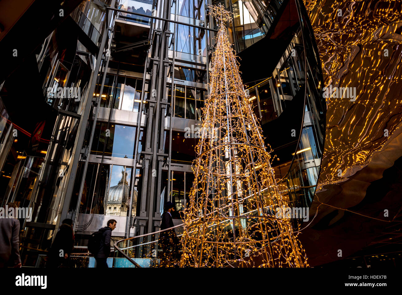 Christmas tree and decoration at One New Change, London - Stock Image