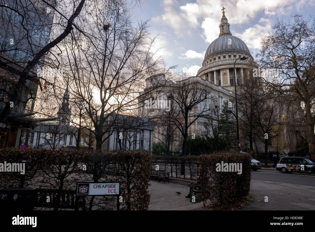 View of St.Paul's Cathedral from Cheapside and One New Change. - Stock Image