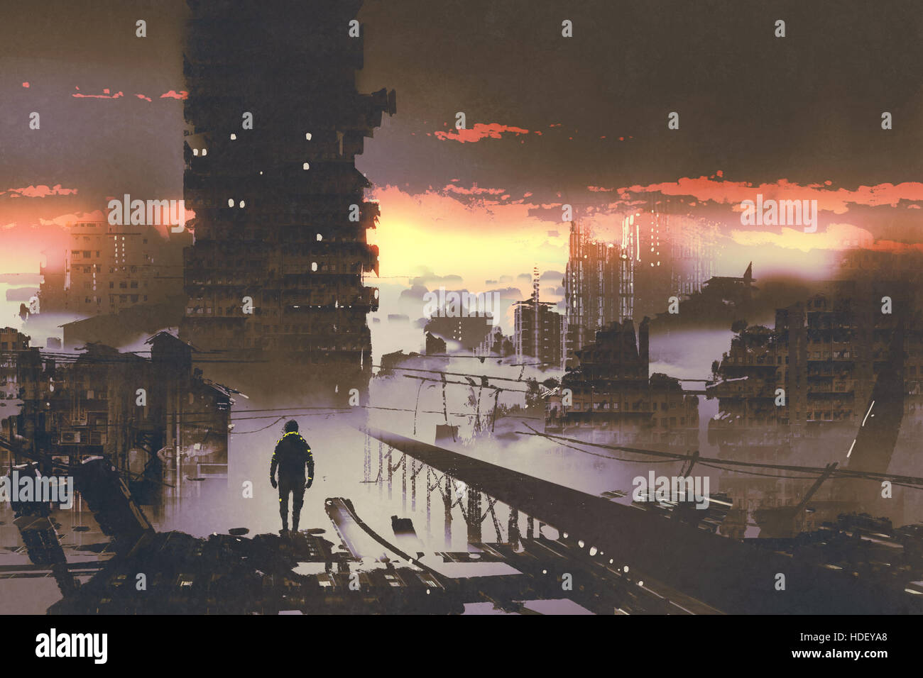man standing in abandoned city,sci-fi concept,illustration painting - Stock Image