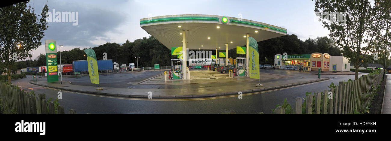 BP Service station panorama,M5,Gloucester,England,UK -dusk - Stock Image
