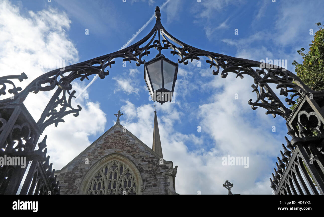 Bridgwater Town archway to St Marys Church,Somerset,SW England,UK - Stock Image