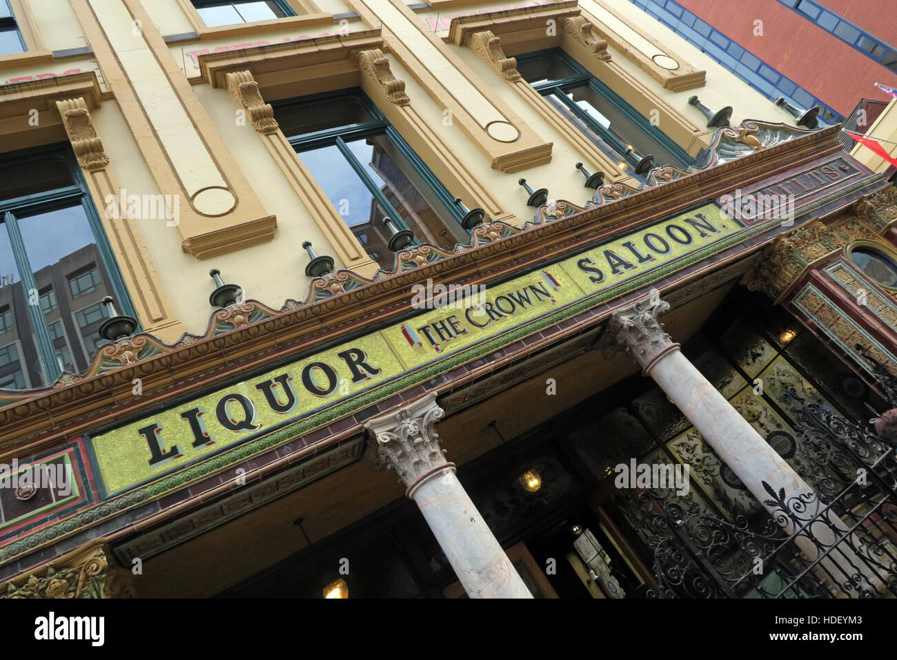 Liquor Saloon - Front of Famous Crown Bar,Gt Victoria St,Belfast - Stock Image