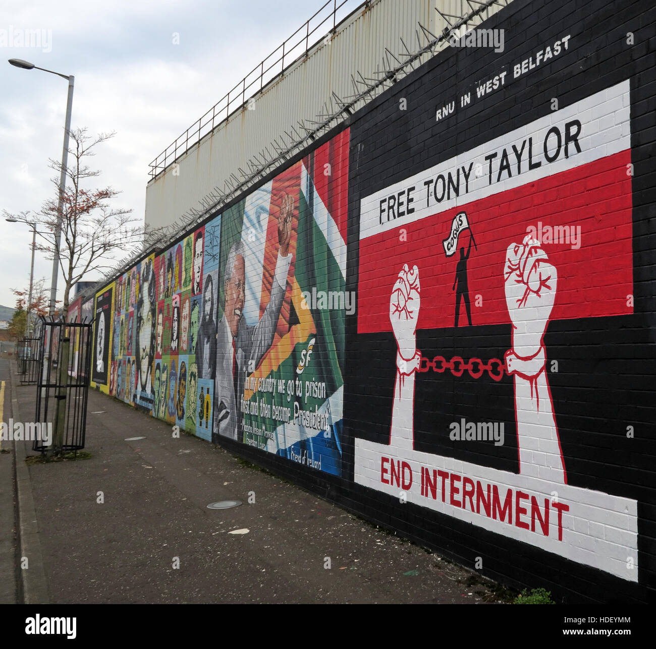 Free Tony Taylor - End Internment - International Peace Wall,Cupar Way,West Belfast , Northern Ireland, UK - Stock Image