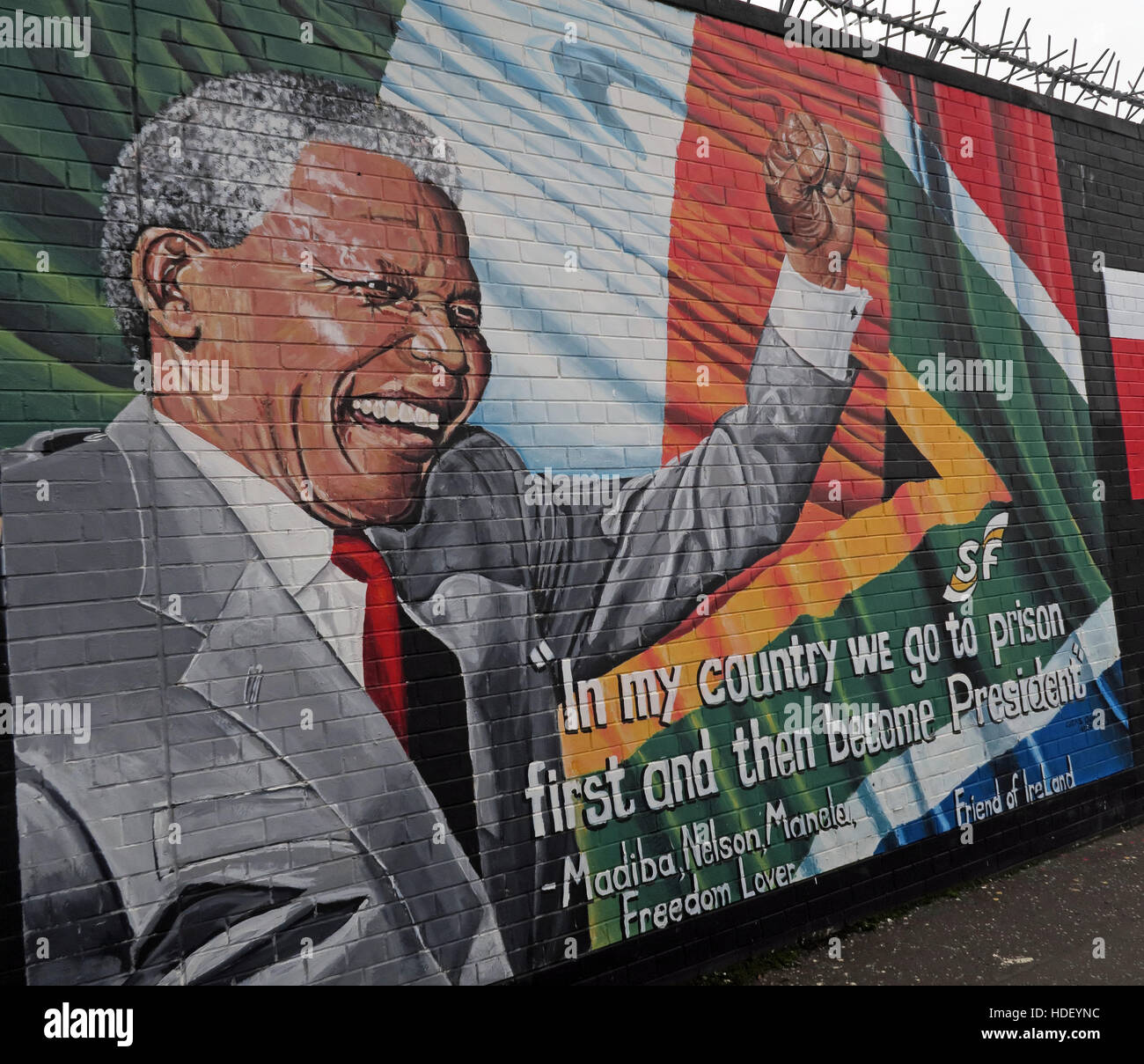Nelson Mandela - International Peace Wall,Cupar Way,West Belfast , Northern Ireland, UK - Stock Image