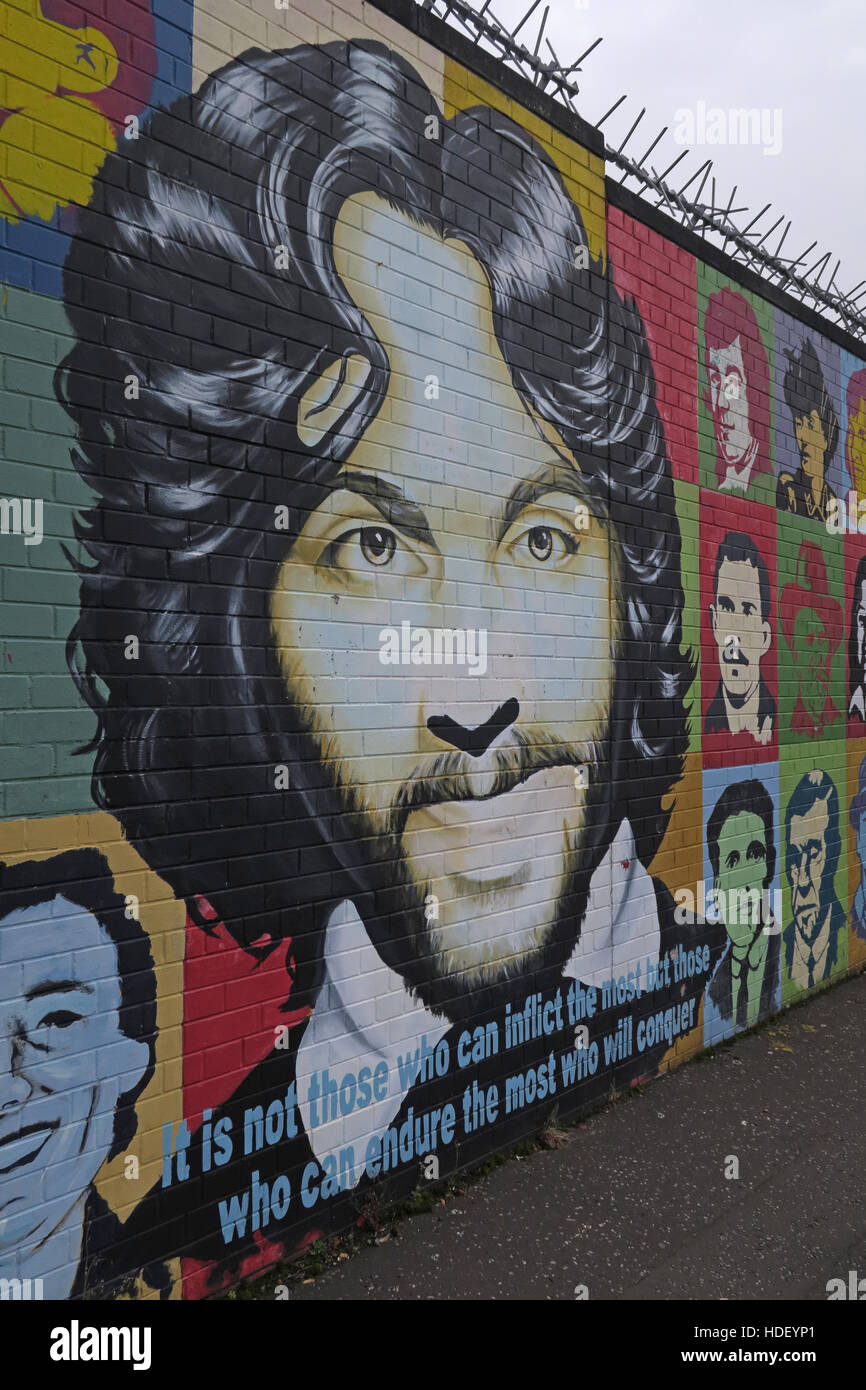 Its not those who can inflict the most... - International Peace Wall,Cupar Way,West Belfast, Northern Ireland, UK - Stock Image